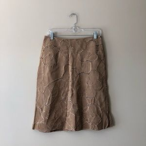 Suedessence tan leather embroidered skirt